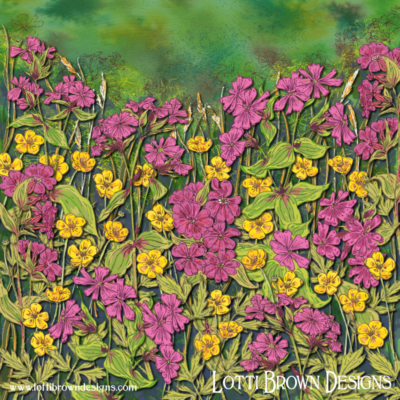 The completed wildflower artwork - Red Campions and Buttercups 'The Flowers at Fox Corner'