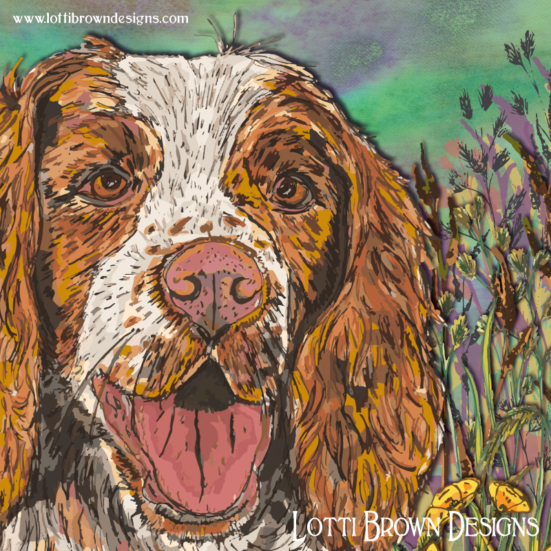 Springer Spaniel art - showing artwork detail