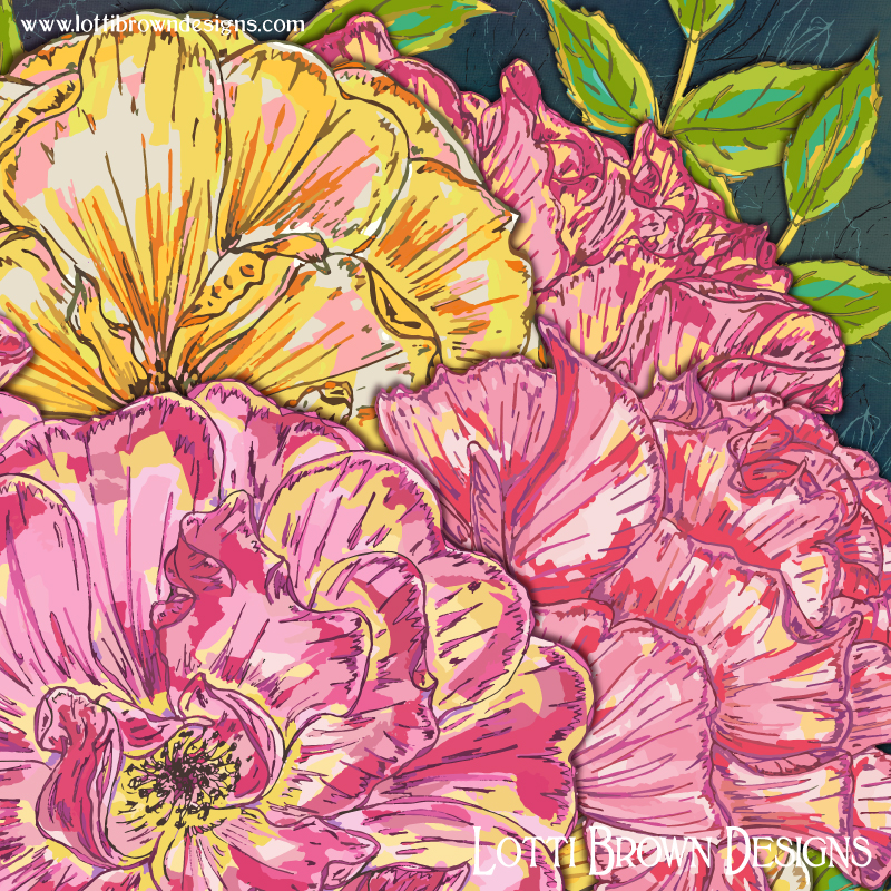 Detail from my pink and yellow roses artwork