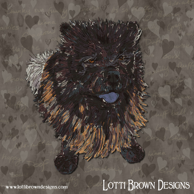 Fluffy Chow Chow Custom Pet Portrait - Custom animal art case study - a surprise gift for the owners of Shadow a gorgeous young chow chow - Click here to read about Shadow's portrait (opens in a new window)