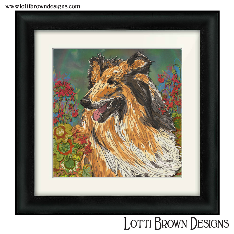 Rough collie pet portrait with geraniums