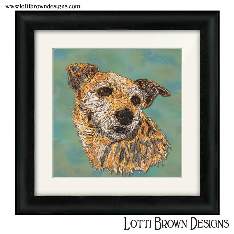 Colourful, modern dog portrait