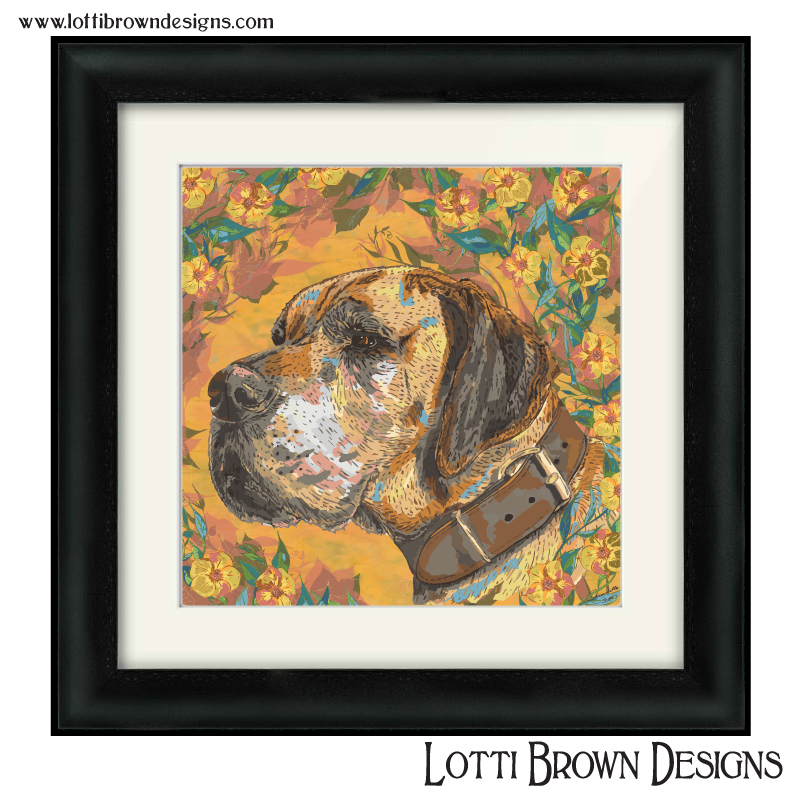 """Sample price for one pet and decorative background - -- Custom artwork plus framed and mounted 200mm x 200mm square print (approx. 8"""" x 8"""" print in a 12"""