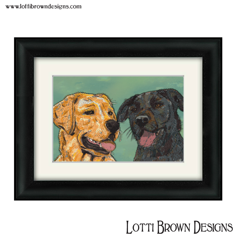 """Sample price for two pets and plain/simple background - -- Custom artwork plus framed and mounted 200mm x 200mm square print (approx. 8"""" x 8"""" print in a 12"""