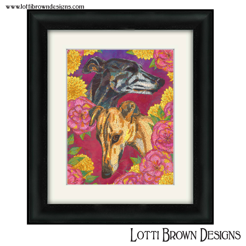 """Sample price for two pets and decorative background - -- Custom artwork plus framed and mounted 200mm x 200mm square print (approx. 8"""" x 8"""" print in a 12"""