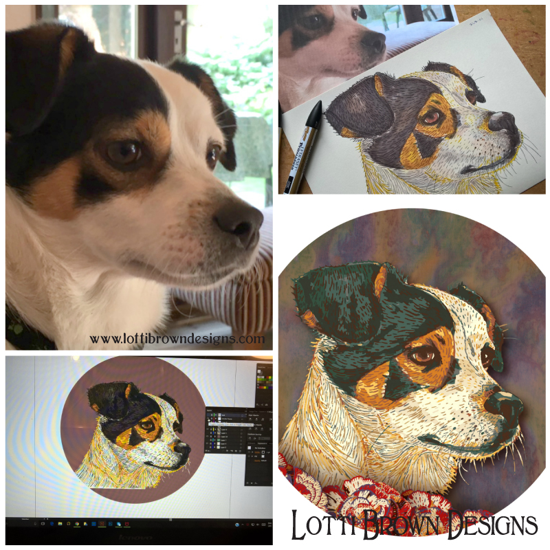 Pet portrait from photo - showing some of the process and finished piece...