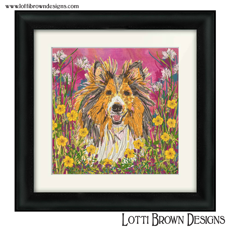 Sheltie pet portrait with a decorative floral background