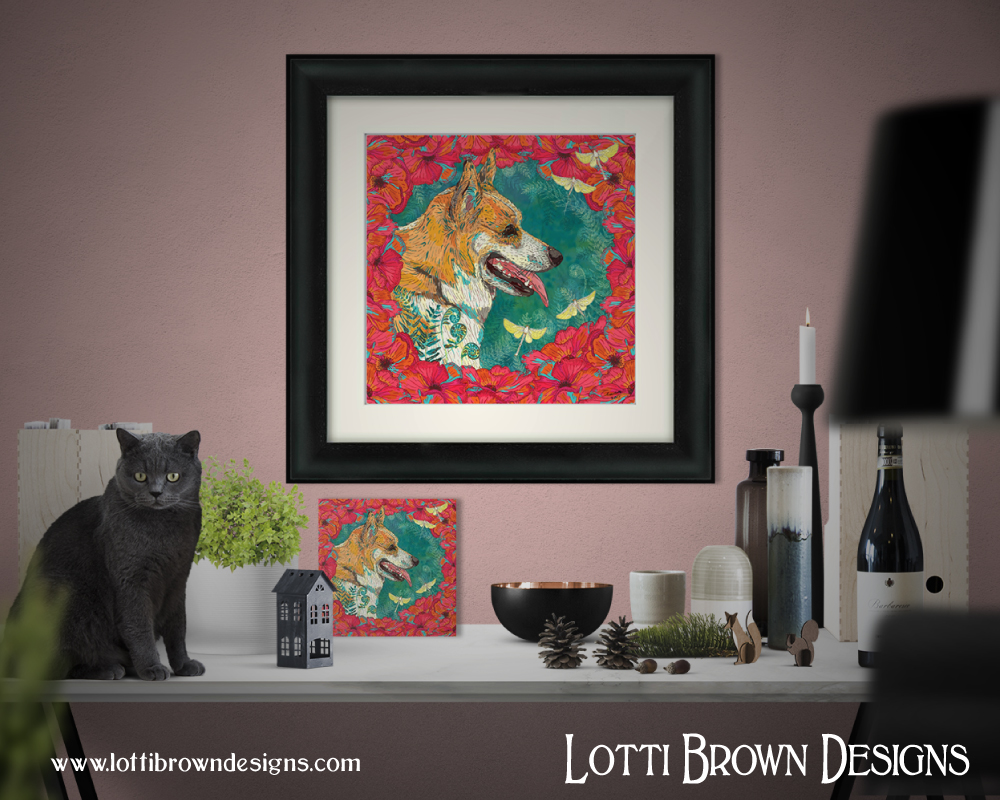 Colourful, modern framed pet portraits - corgi with poppies and fairies