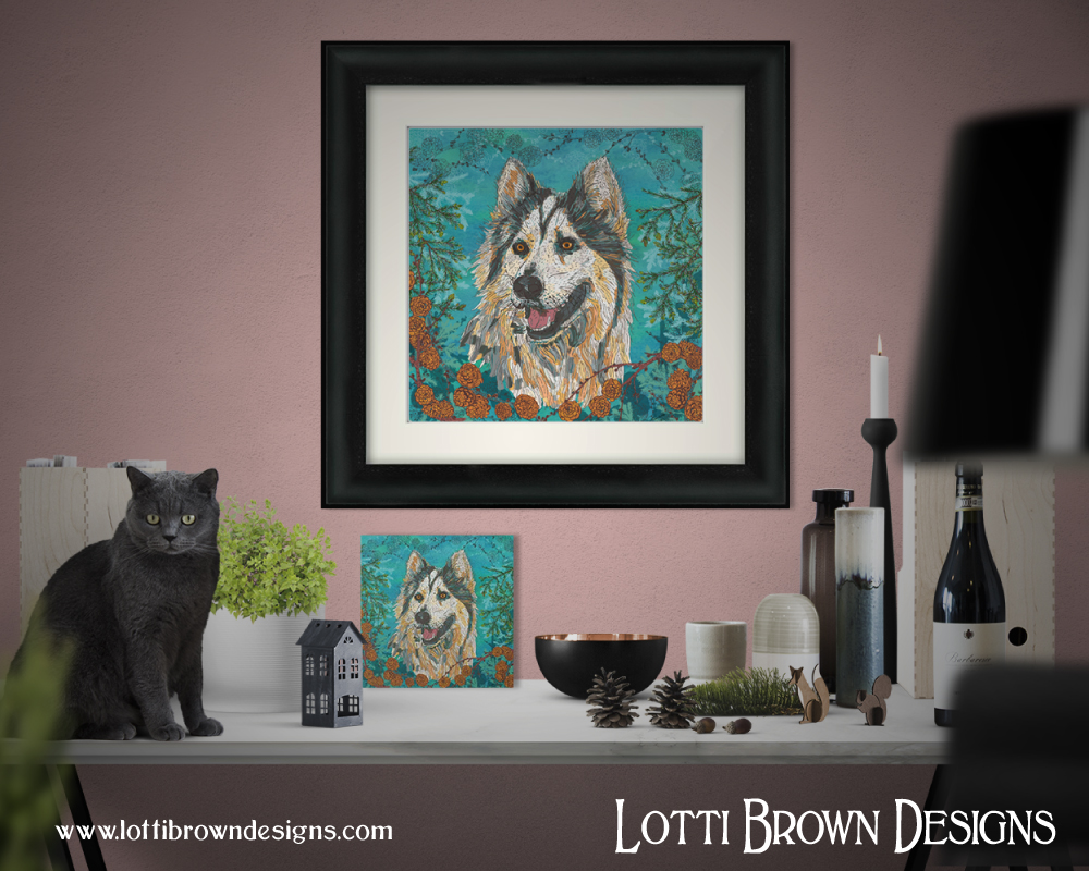 Colourful and decorative dog portrait of a husky