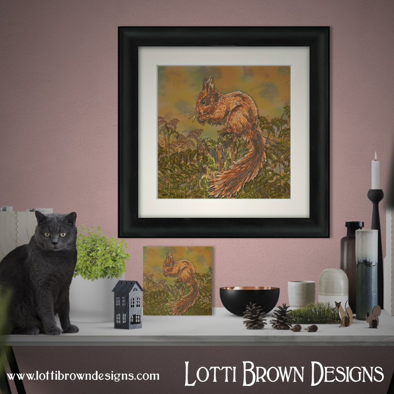 Framed squirrel artwork - click image for all the print and frame options in my store
