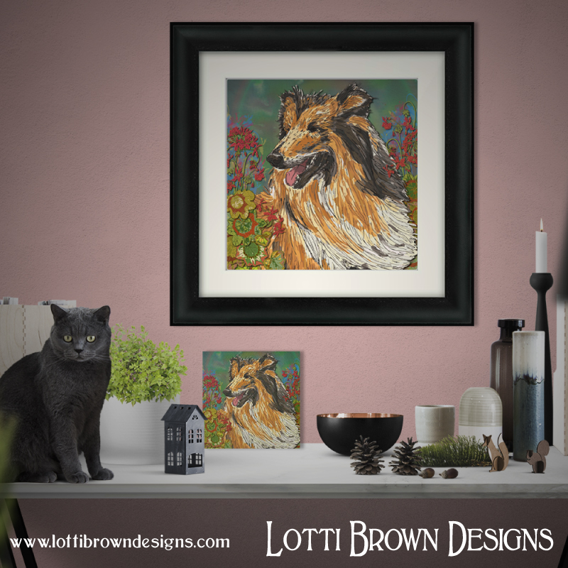 Framed or unframed rough collie art prints are available in my online store