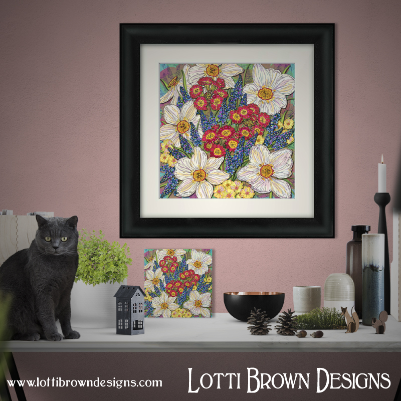 My joyful Spring Flowers artwork is available as framed and unframed prints in my store