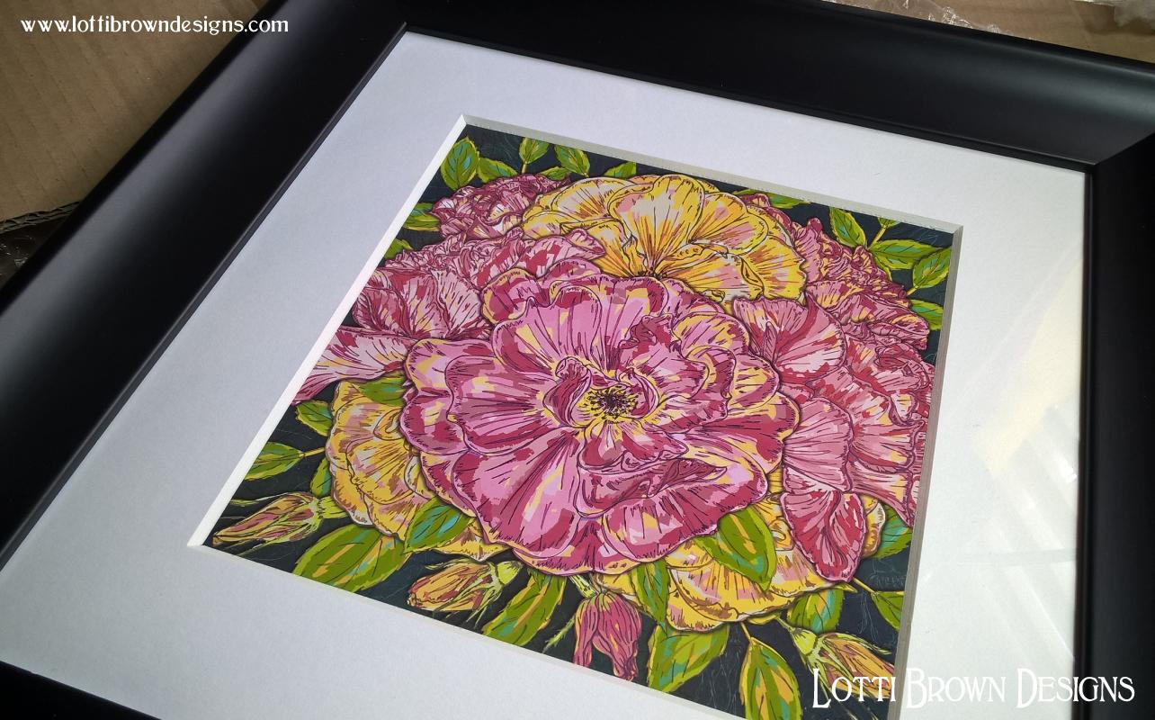 Colourful 'Summer Roses' framed art print