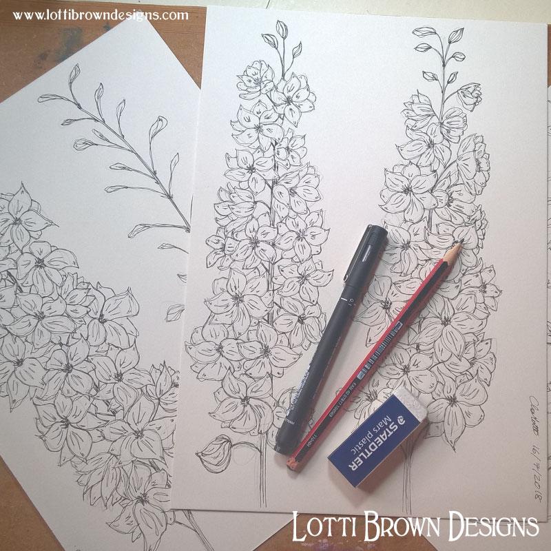 Starting my delphinium drawings