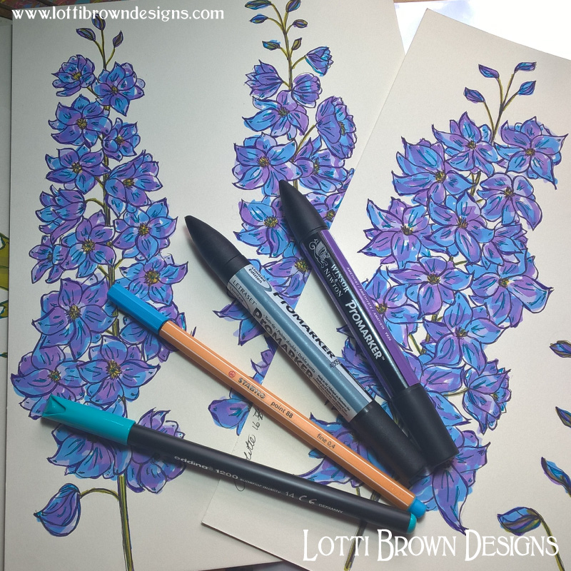 Adding beautiful blue to my delphinium drawings