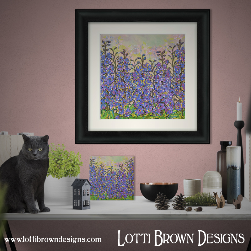 My 'Darling Delphiniums' art print is available as framed and unframed prints and canvases from my online store.