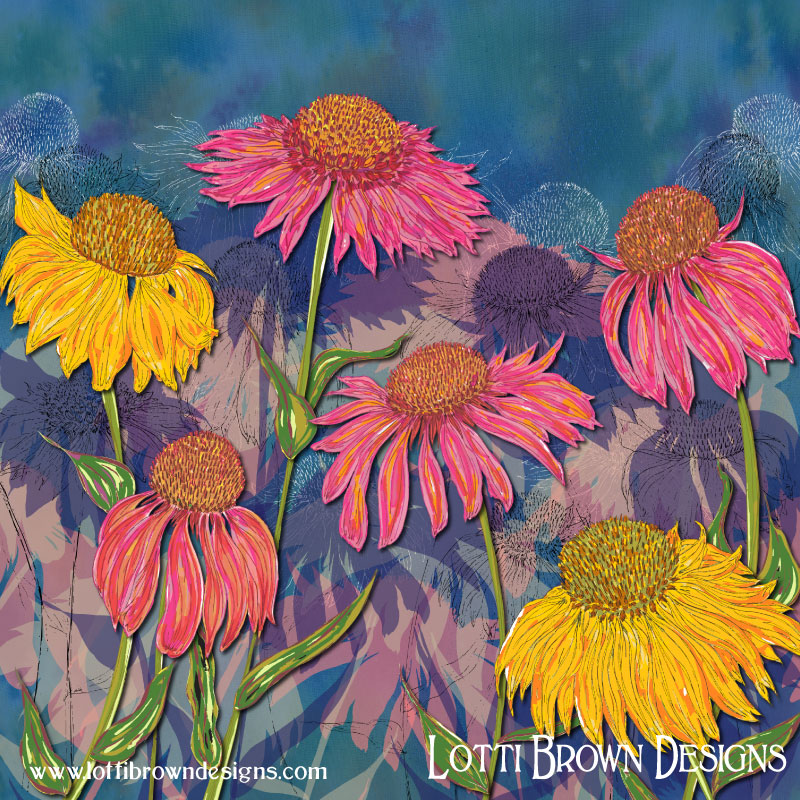 'Colourful Coneflowers' summer floral art by Lotti Brown