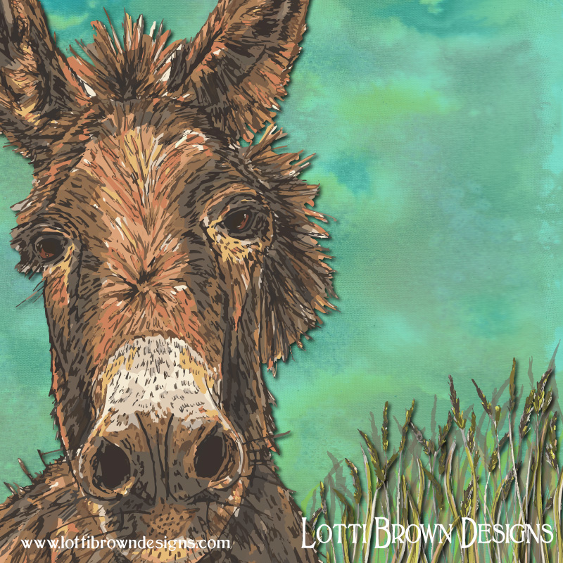 Showing detail from the donkey artwork