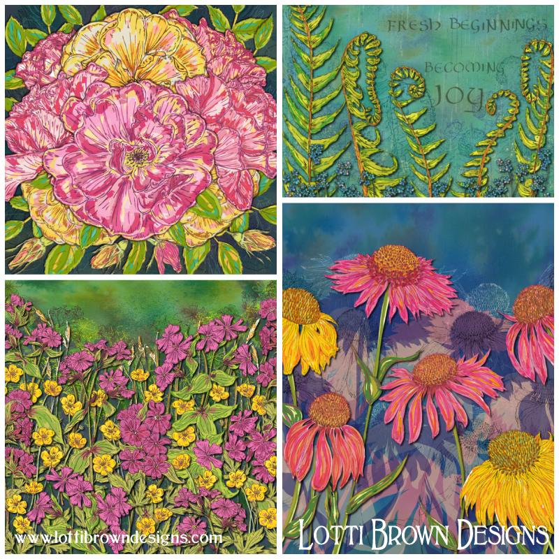 Flower art 'Joyful Blooming' collection by Lotti Brown