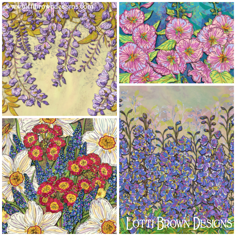 Colourful flower art 'Joyful Blooming' art collection by Lotti Brown