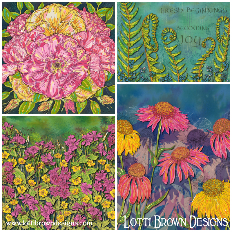 Joyful Blooming floral art collection by Lotti Brown