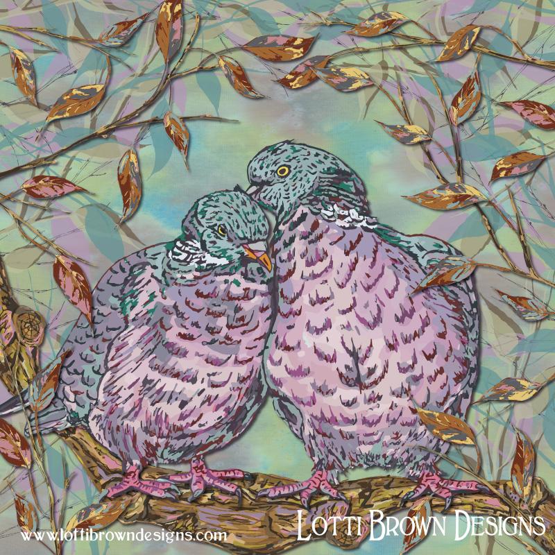 'Loving Woodpigeons' art by Lotti Brown