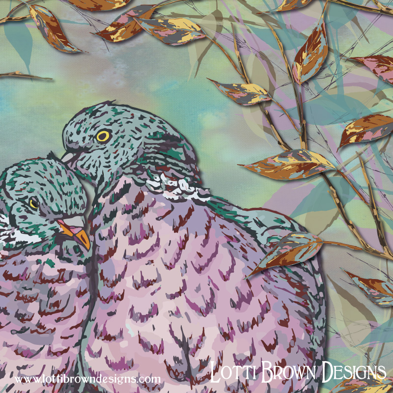 Detail from the woodpigeons (ring doves) artwork