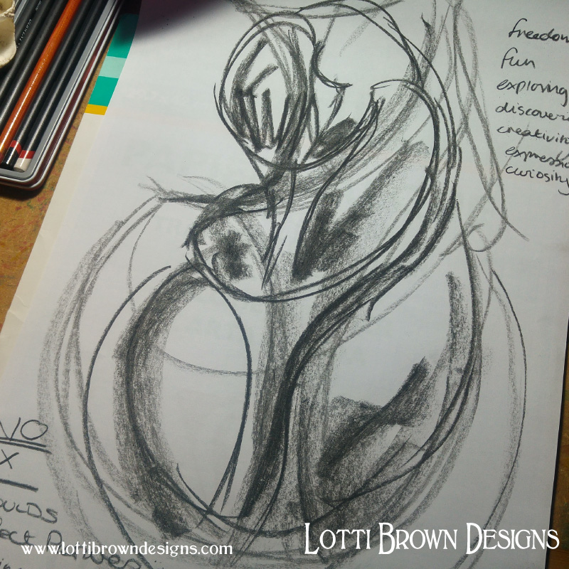 Expressive and personal drawing - shell drawn in charcoal