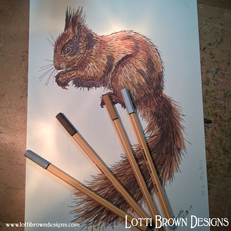 Squirrel drawing in fineliner pen and Promarker