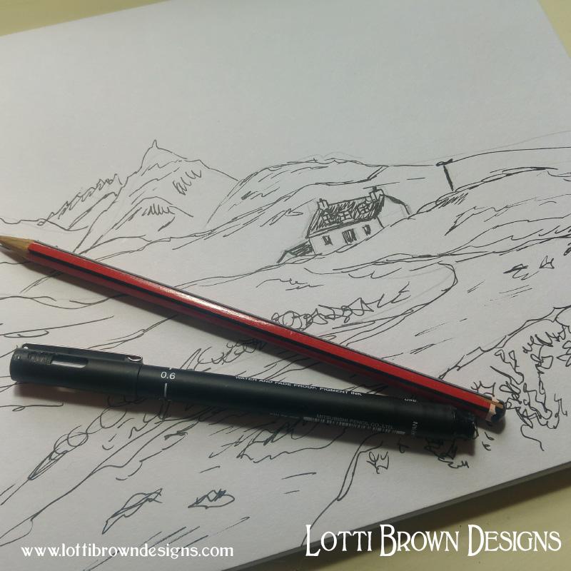Landscape sketch in black fineliner pen