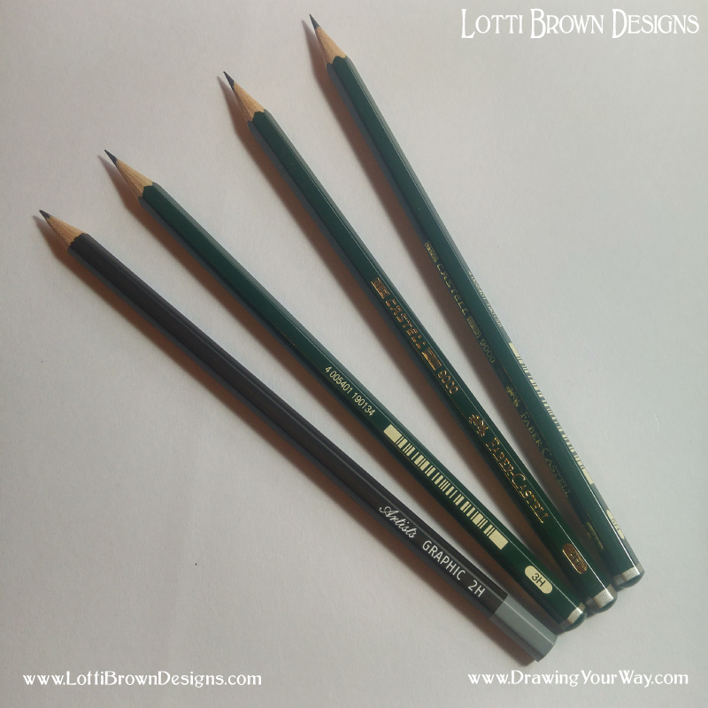 Keep your H-grade pencils nice and sharp - but press lightly!