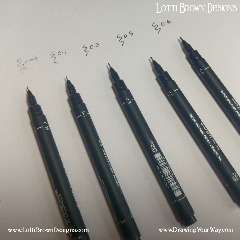 If you're just starting out with a drawing pen, the thicker 0.5 or 0.6 nib sizes are a great starting point