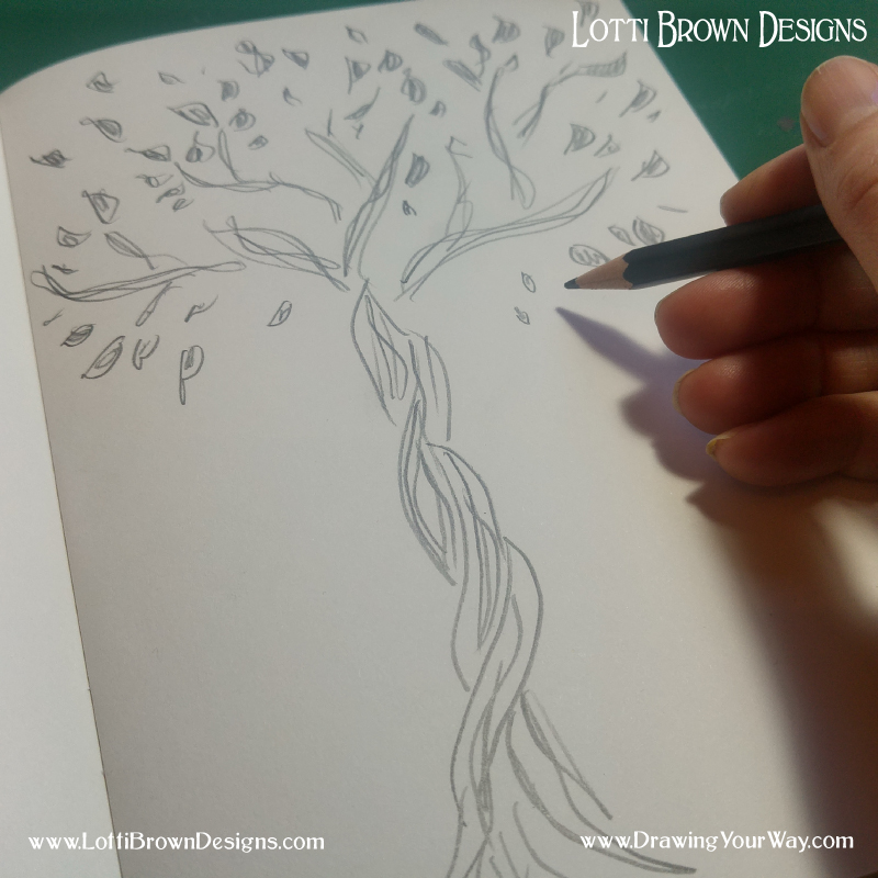 A doodley, sketchy tree in soft pencil… I don't feel so comfortable using the soft pencil and I don't feel so happy with my drawing - this is normal! The only way to feel more comfortable using your drawing tools is to practice… but at the same time, when you're making art for pleasure, why not use the tools you enjoy using and that feel great when you use them - I promise you that when you enjoy your drawing you'll create better art!