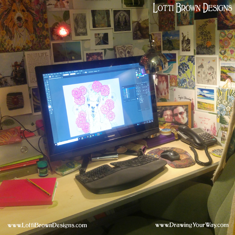 This is my creative space for the administrative and digital part of my artistic work - but I do my drawing elsewhere…