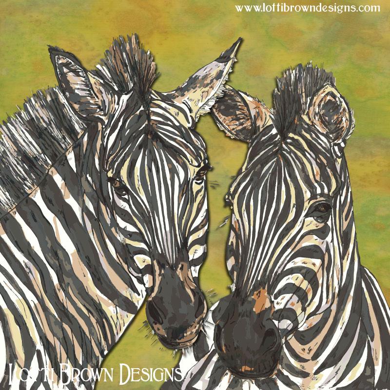 Zebras art by Lotti Brown