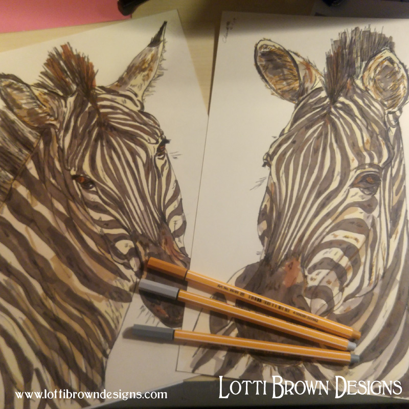 Completed zebra drawings