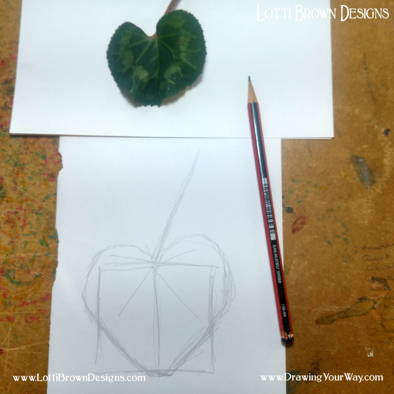 Sketching in the leaf shape