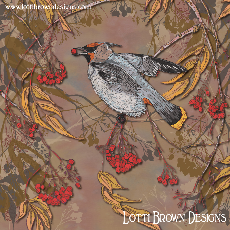 'Waxwing Winter Feast' - colourful and contemporary waxwing art by Lotti Brown