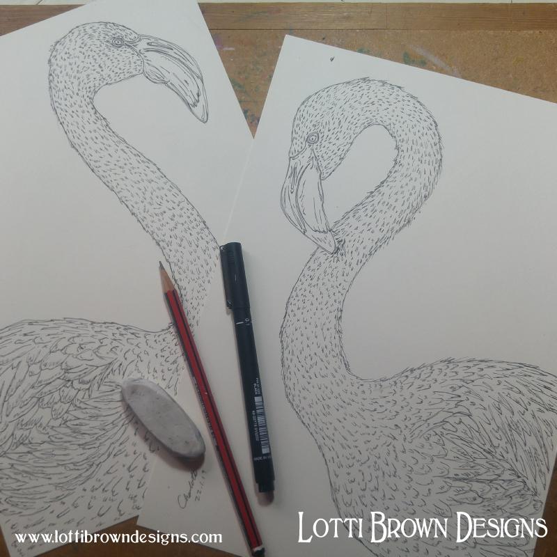 Starting my flamingo drawings