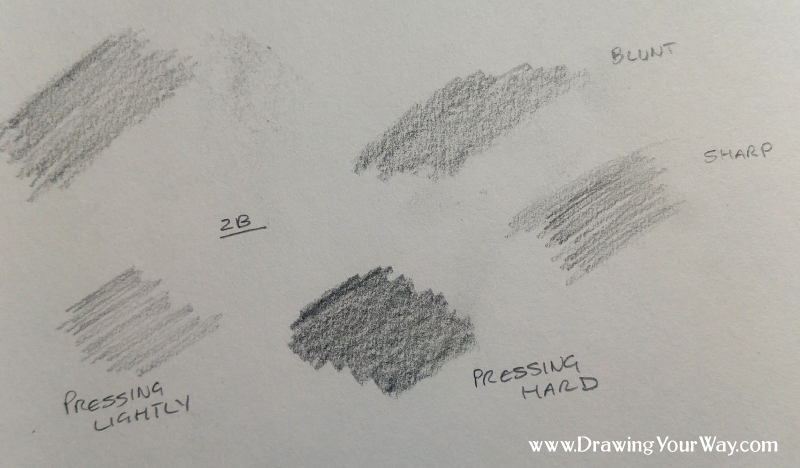 Hold your pencil at different angles and press more lightly or more softly to get different effects