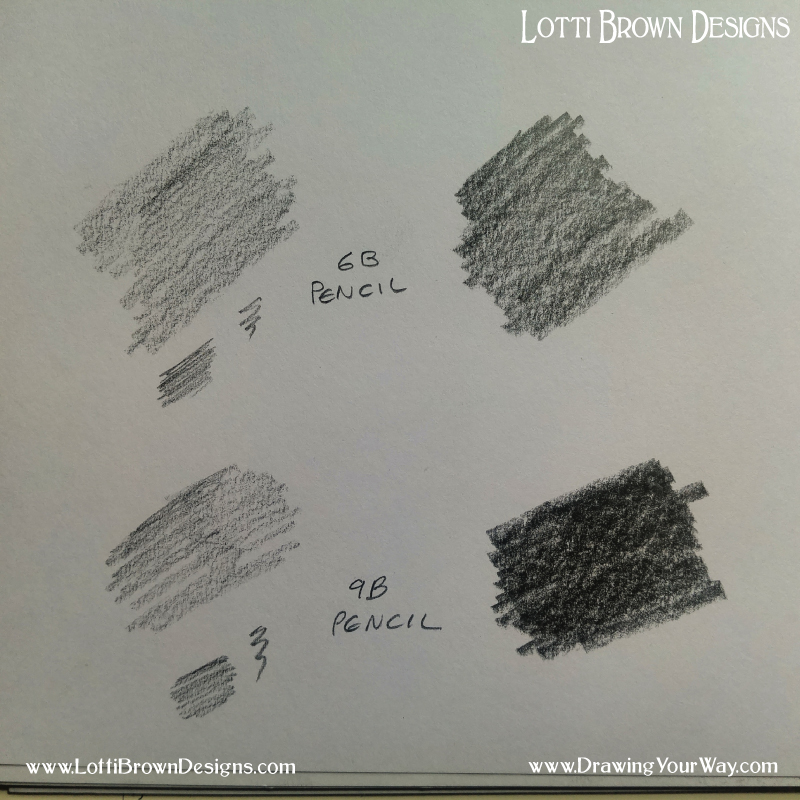 Pressing harder and softer with 6B and 9B pencils - you can get some really dark shading in your drawings with these really soft, dark pencils.