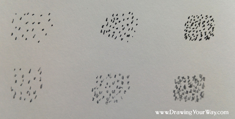 Dots, squiggles, stipples, or speckles, can be used for a nice texture in your drawing. Putting them closer together can make the area look darker - pen (top) and pencil (bottom).