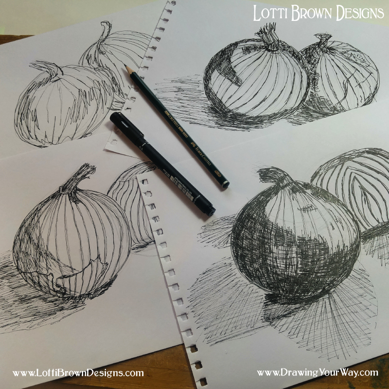 Practising different types of mark-making to give my onions a sense of solidity or form
