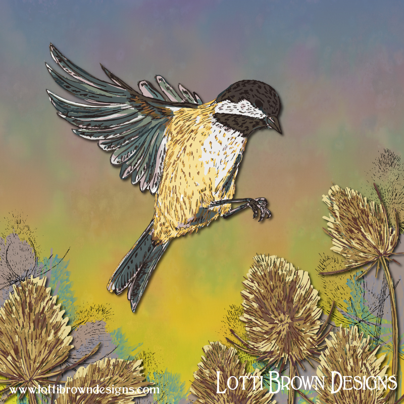 Colourful coal tit artwork created digitally from drawings and painted fabric.