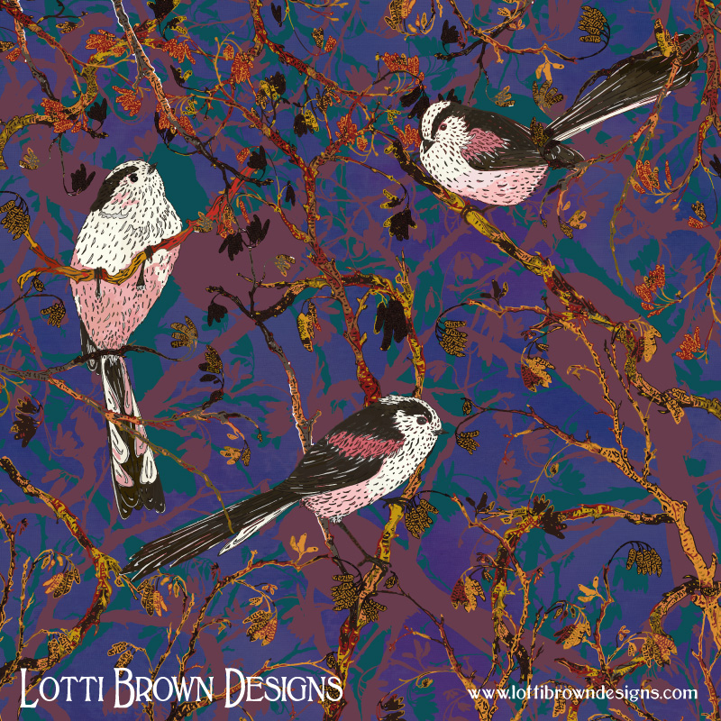 'Lovely Little Long-tailed Tits' art by Lotti Brown