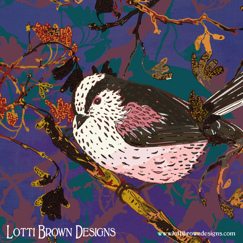Detail from the long-tailed tits artwork