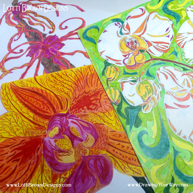 Some very colourful and expressive drawings made in watercolour pencil
