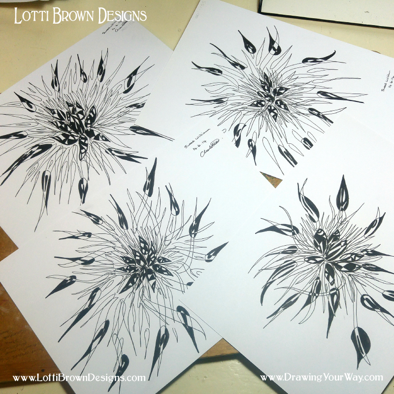 These are flowers - Sweet Williams. Drawn in a more abstract style to have some fun with the shapes.