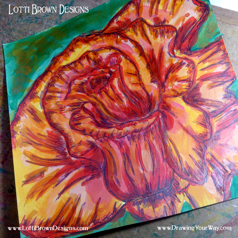Rose drawing combined with oil paints - a personal journey of experimentation, expression, and discovery!