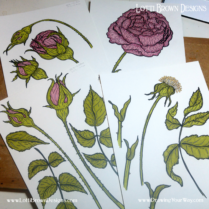 Drawing roses with a bit of a flourish - style and expression in art!